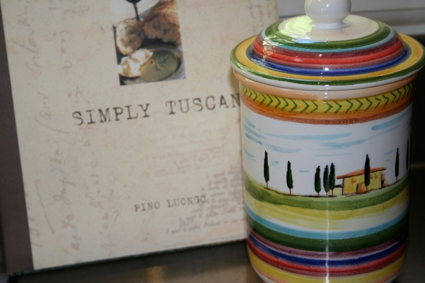 Tuscan cookbook and Montalcino ceramic jar