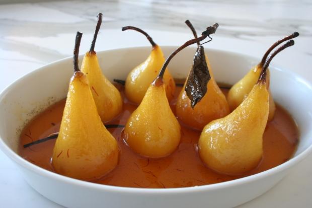 Saffron Pears with Poire William