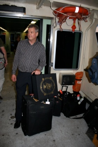 John and luggage on the Vaporetto