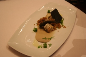 Andre Chiang, fish, sprouted wheat, artichoke mousse, smoked vegetables
